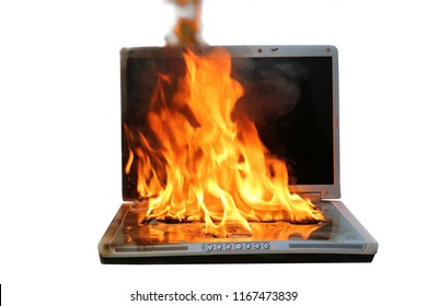 Laptop computer on fire. isolated on white. room for text. Laptop fire damage.