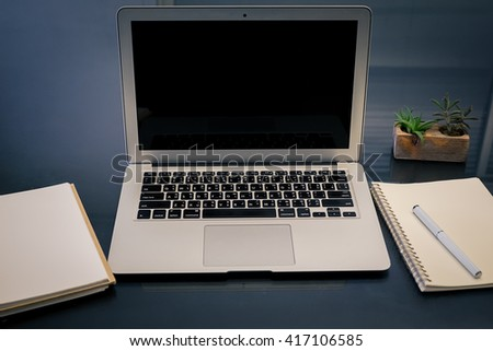 laptop computer on top office table stock photo edit now 417106585 rh shutterstock com Table Legs Office Office Stationary Table