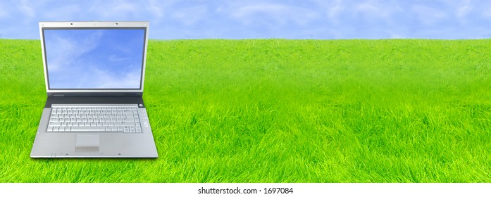 Laptop Computer Over Wide Green Grass Background (Area For Your Text)