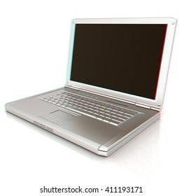 Laptop Computer PC on a white background. 3D illustration. Anaglyph. View with red/cyan glasses to see in 3D.