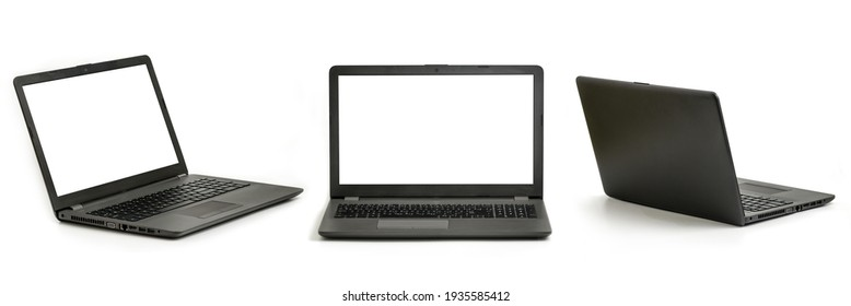Laptop computer with white screen and keyboard angle, front and rear view. Each shot is taken separately