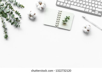 Laptop, cotton branch on white table. Flat lay, top view minimal freelancer home office desk workspace.