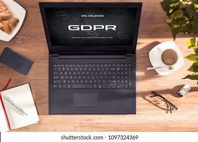 Laptop display with GDPR sign. Conception of  General Data Protection Regulation in EU law. Interface created in graphic program