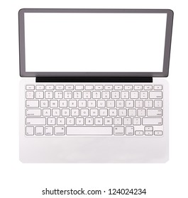 laptop with empty display isolated on a white background