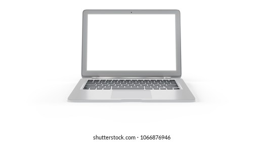Laptop with empty space screen. Isolated on white background. 3D Rendering, Illustration.