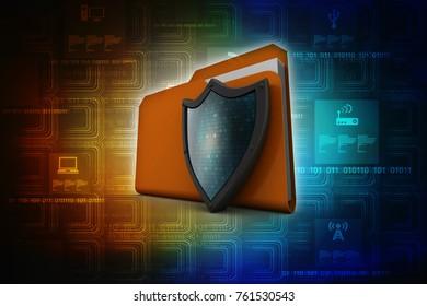 laptop folder with shield. Isolated 3d rendering image