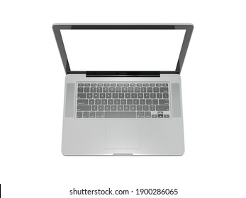 Laptop in front top view with blank screen isolated on white background - mockup template