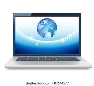 Laptop and Globe concept. Raster version. Vector version is also available.