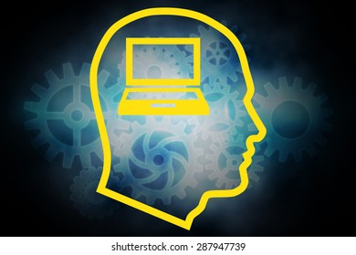 Laptop in head against cogs and wheels graphic