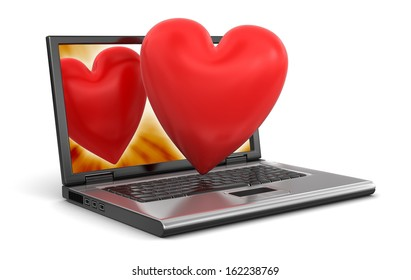 Laptop and Hearts (clipping path included)