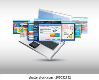 Laptop with illustration of  template website