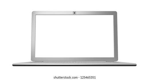 Laptop isolated. Front view 3d render