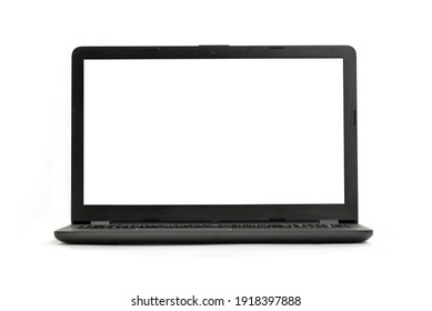 Laptop isolated on white background - front view with clipping path