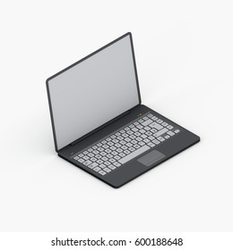 Laptop. Isolated on white background. 3D rendering illustration.Isometric view.