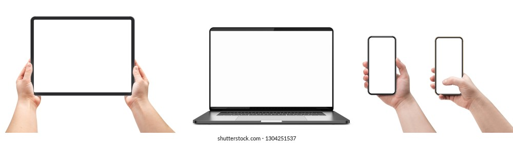 Laptop isolated on white and woman holding smartphones and tablet with blank screen.
