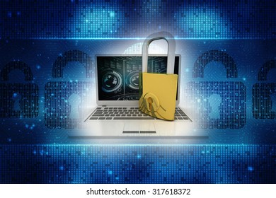 Laptop with lock on colour isolated background. 3d