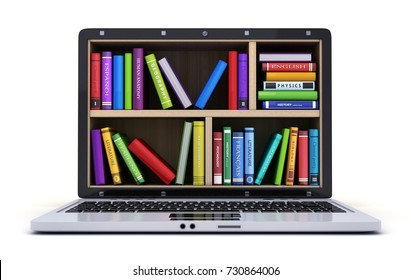 Laptop and many book. 3d illustration