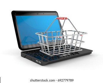 Laptop with metal basket isolated on white background. 3d illustration