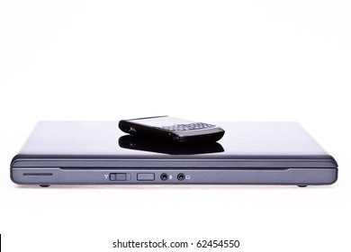 Laptop and mobile phone in high key lighting