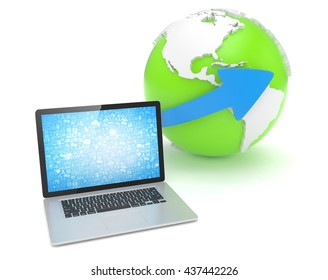 Laptop network and earth globe. 3d render