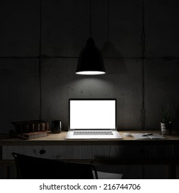 Laptop in night room
