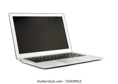 Laptop, notebook computer with copy space isolated on white background.