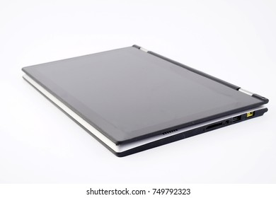 Laptop of notebook computer isolated on white background. Selective focusing.