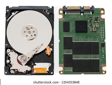 A laptop notebook spinning harddrive and SSD harddrive on an isolated background