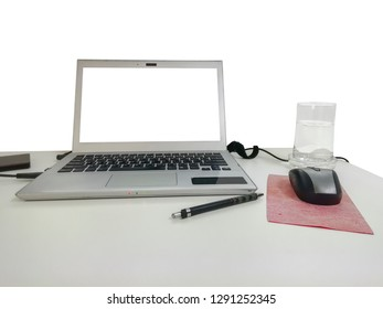 Laptop with office desk background