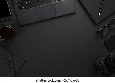 Laptop With Office Supplies At Gray Desk