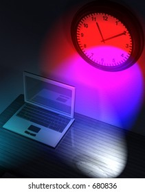 Laptop on a desk and clock