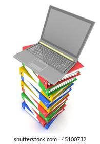Laptop on Stack of Folders