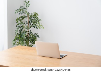 Laptop on table, Telework