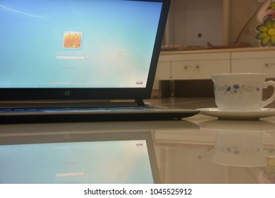 Laptop on use for home work - work from home concept, Dhaka, Bangladesh, Off day, 13 March 2018