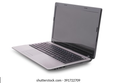 Laptop on white background. Clipping path included. Separate clipping path to the screen