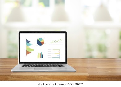 Laptop on wood table against green nature home windows and lamp background Show  chart and graph on screen,Business concept, Success