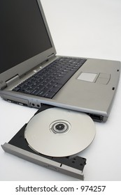 Laptop PC with CD/DVD drive open