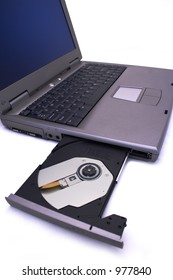 Laptop PC with CD/DVD drive open and empty