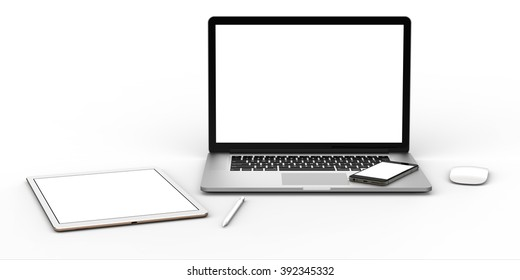 Laptop, phone, tablet and mouse with blank screen isolated on white background. Whole in focus.