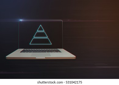 Laptop with Pyramid Chart Icon on Light Motion Background and Lens Flare - Digital 3d Effect Style Color