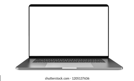 Laptop a rectangular screen for inserting images, isolated on white.