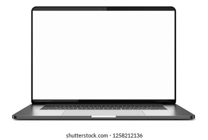 Laptop a rectangular screen for inserting images, isolated on white background.