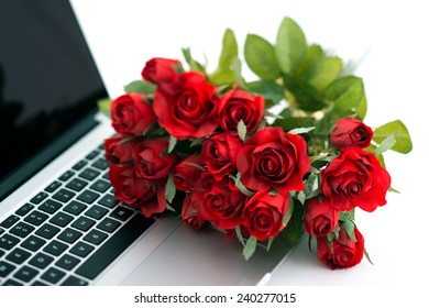 Laptop with roses