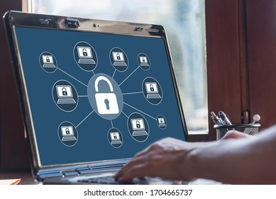Laptop screen displaying a cyber security concept
