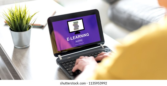 Laptop screen displaying an e-learning concept