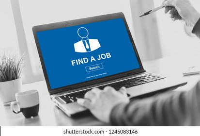 Laptop screen displaying a job search concept