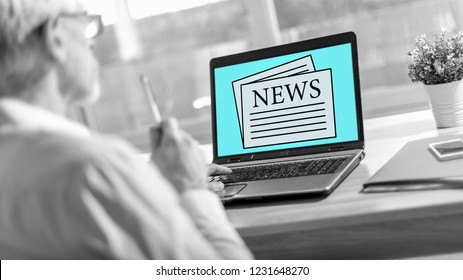 Laptop screen displaying a news concept