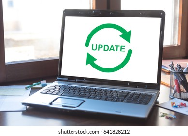 Laptop screen displaying an update concept