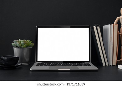 Laptop screen isolated on a desk in office