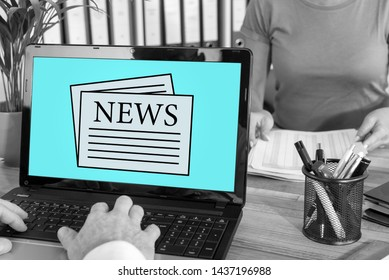 Laptop screen with news concept